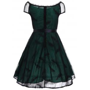 Vintage Slash Neck Lace Overlay Dress - Vert L