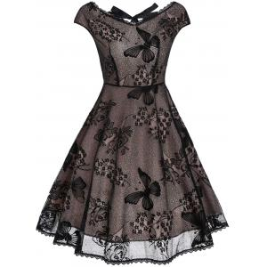 Back Cutout Lace Vintage Fit and Flare Dress - Black - L