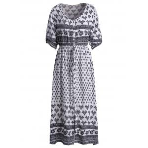 High Split Tribal Print Button Down Robe de Bohème -