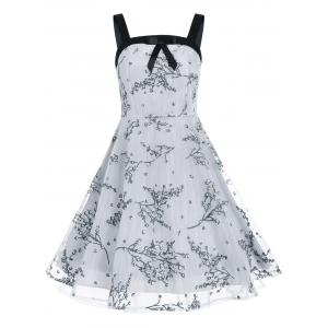 Vintage Bowknot Floral Print Flare Dress - Gray - S