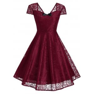 Retro Bowknot Lace Fit and Flare Cocktail Dress