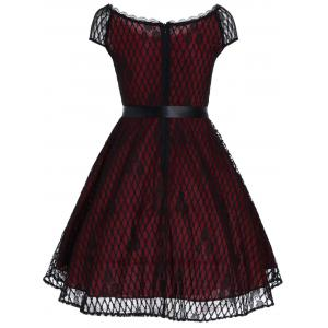 Vintage Slash Neck Lace Overlay Dress - Rouge vineux L