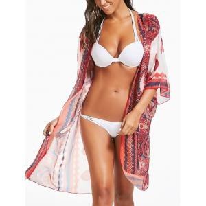 Long Chiffon Printed Swing Kimono Cover Up