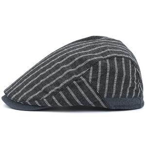 Stripe Sunscreen Flat Cap - GRAY