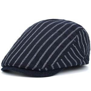 Stripe Sunscreen Flat Cap - Cadetblue - 42
