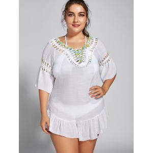 Backless Plus Size Flounce Crochet Panel Cover Up -