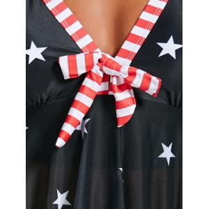 Asymmetrical American Flag Patriotic Skirted Tankini Bathing Suit - BLACK S