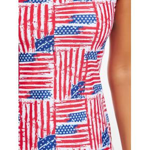 One Shoulder Patriotic American Flag Tankini Set - COLORMIX S