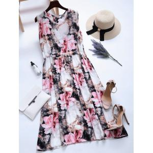 Sleeveless Floral Print Drawstring Dress