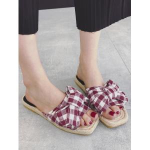 Bowknot Gingham Espadrille Slides - RED 39