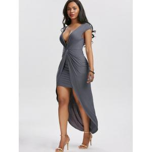 Twist Front High Low Hem Tee Dress - Gris M