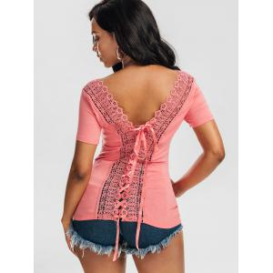 Laced Lace-up Top - ORANGEPINK XL