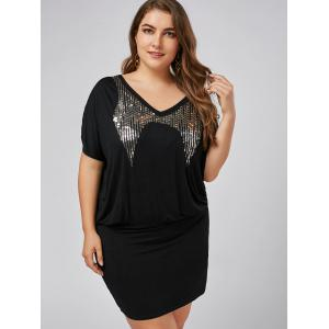 Плюс Размер Sequin Mini Bodycon Платье -