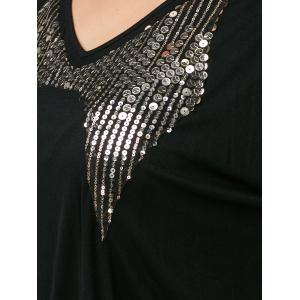 Plus Size Sequin Mini Bodycon Dress - BLACK 5XL