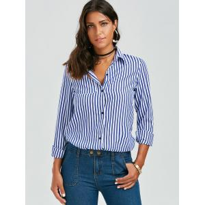 Stripes Long Sleeve Formal Shirt - BLUE AND WHITE S