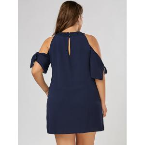 Bowtie Chiffon Slit Sleeve Plus Size Mini Dress - PURPLISH BLUE 3XL