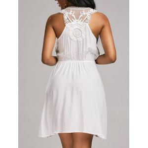 Lace Trim Sleeveless Surplice Flare Dress