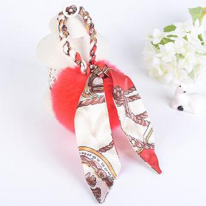 Silk Bowknot Puff Ball Keyring - Red - One Size