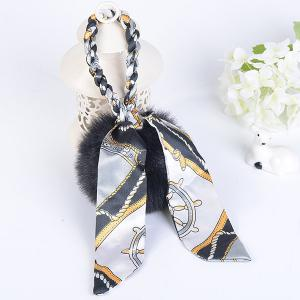 Silk Bowknot Puff Ball Keyring - Black