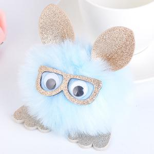 Animal Pattern Eyeglasses Pom Pom Ball Keyring - Light Blue