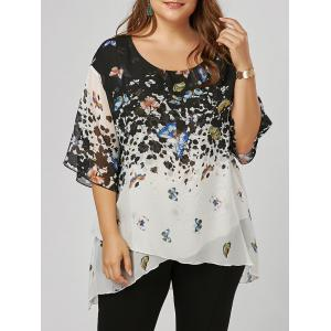Plus Size Butterfly Pattern Overlap Blouse