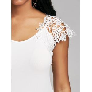 Lace Trim Cap Sleeve Cutwork T-shirt -