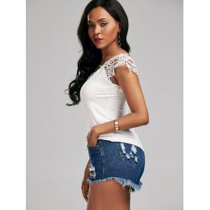 Lace Trim Cap Sleeve Cutwork T-shirt - WHITE XL