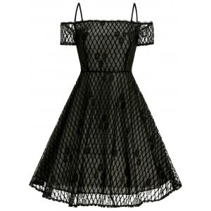 Vintage Spaghetti Strap Lace Fit and Flare Dress