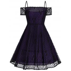 Vintage Spaghetti Strap Lace Fit and Flare Dress - Purple - L