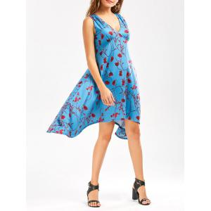 Empire Waist Floral Print Low Cut Summer Asymmetrical Dress