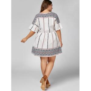 Plus Size Self Tie Peasant Smock Dress -