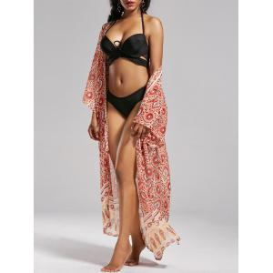 Boho Floral Longline Kimono Cover Up - Colormix - One Size