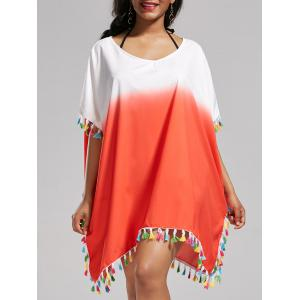 Tassel Trim Ombre Cover Up Dress - Darksalmon - One Size
