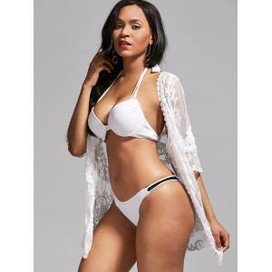 Mesh Lace Summer Kimono Cover Up - WHITE ONE SIZE
