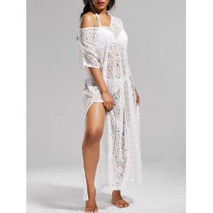 Sheer Lace V Neck Maxi Cover Up Dress with Sleeves - White - One Size
