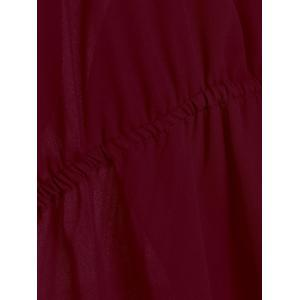 Plus Size Open Shoulder Long Chiffon High Low Top - WINE RED 2XL