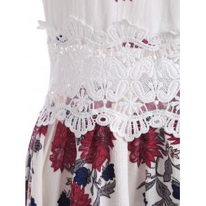 Maxi Floral Lace Panel Flowy Summer Dress - WHITE S