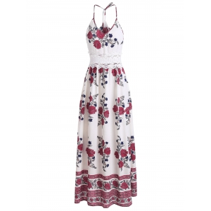 Maxi Floral Lace Panel Flowy Summer Dress - WHITE L