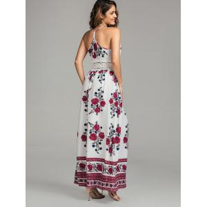 Maxi Floral Lace Panel Flowy Summer Dress - WHITE XL