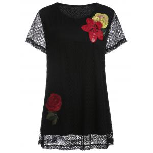 Openwork Plus Size Floral Embroidered  T-shirt