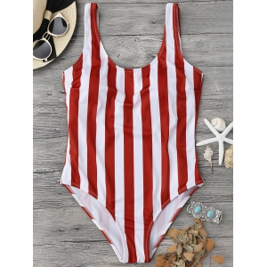 Shaping Striped One Piece Swimsuit - Red With White - M