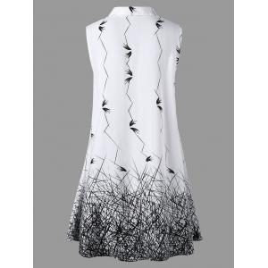 Sleeveless Graphic Plus Size Longline Blouse - WHITE AND BLACK 2XL