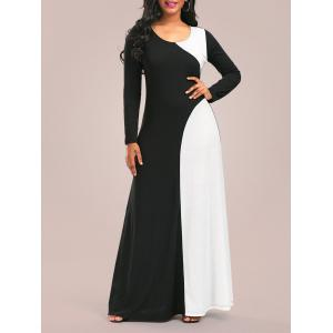 Long Sleeve Two Tone Maxi Jersey Dress - WHITE AND BLACK XL