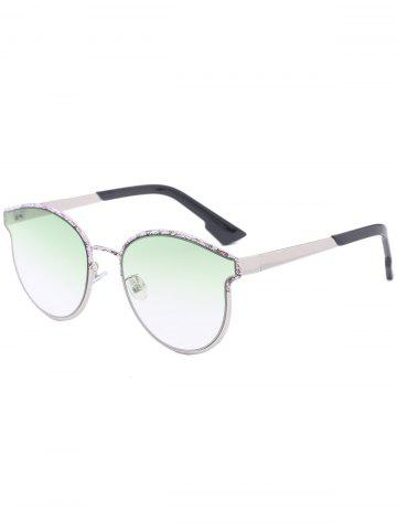 Latest Sunscreen Butterfly Piebald Frame Spliced Sunglasses - GREEN  Mobile