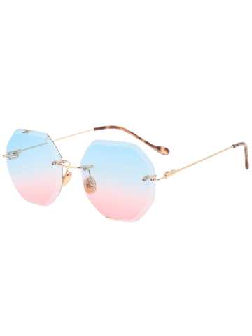 New Gradient Color Geometrical Rimless Sunglasses - BLUE AND PINK  Mobile