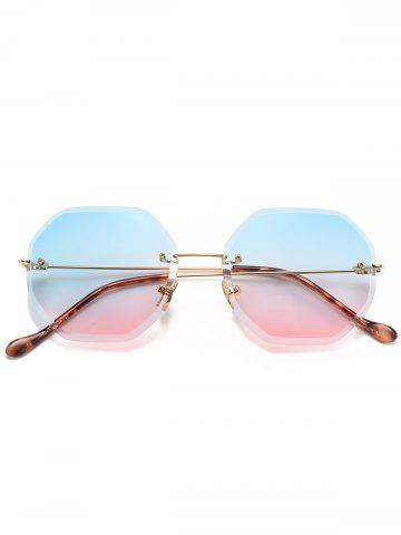 Online Gradient Color Geometrical Rimless Sunglasses - BLUE AND PINK  Mobile