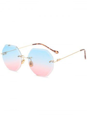Outfit Gradient Color Geometrical Rimless Sunglasses - BLUE AND PINK  Mobile
