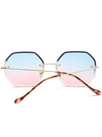 Discount Gradient Color Geometrical Rimless Sunglasses - BLUE AND PINK  Mobile