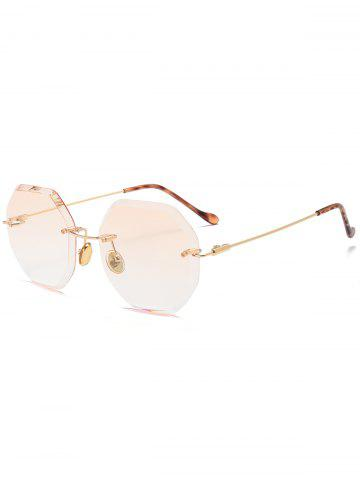 Gradient Color Geometrical Rimless Sunglasses - Champagne