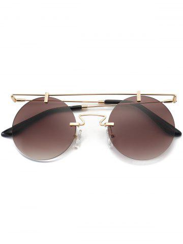 Affordable Mirror Straight Long Crossbar Round Rimless Sunglasses - TEA-COLORED  Mobile